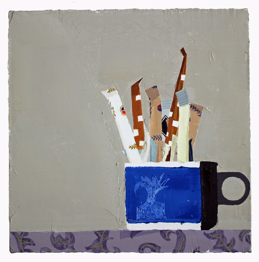 Sydney Licht Still Life with Sugar Packets, 2015 Oil on linen 12 x 12 in.
