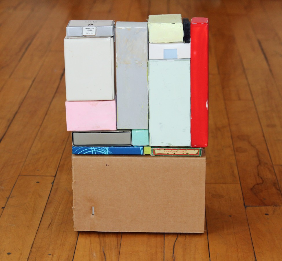 <p><b>Sydney Licht</b><br /> <i>Untitled</i>, 2015&#160;&#160;&#160;&#160; <br /> Found boxes<br /> 12 x 7 x 8 in.&#160;</p>