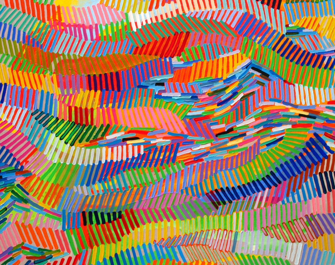 <p><strong>Martina Nehrling</strong></p><p><i>Vivid and Continuous</i>, 2014&#160;&#160;&#160;&#160; <br /> Acrylic on canvas<br /> 38 x 48 in.&#160;</p>
