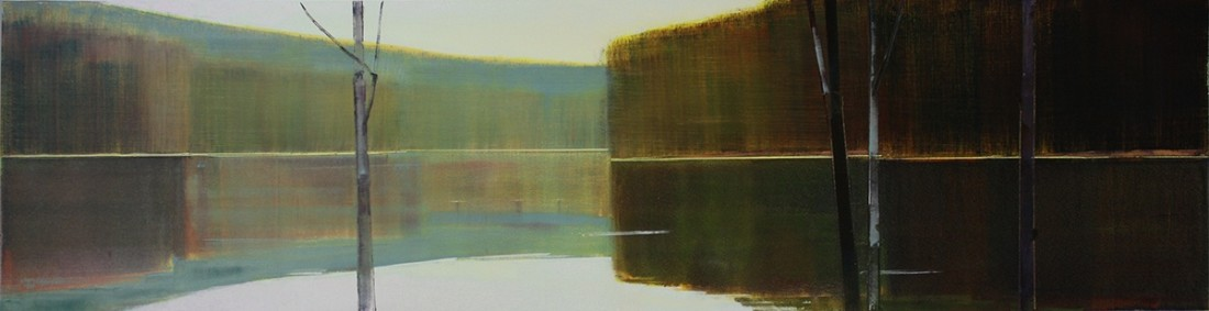 Oil painting on panel by Stephen Pentak in various shades of brown, gray, black, blue and green. The painting depicts part of the woods with several thin trees. There are multiple layers as each plain recedes into the distance.