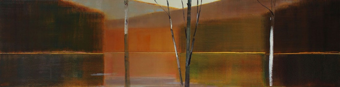 Oil painting on panel by Stephen Pentak in various shades of brown, gray, black, blue, green and red. The painting depicts part of the woods with several thin trees. There are multiple layers as each plain recedes into the distance.