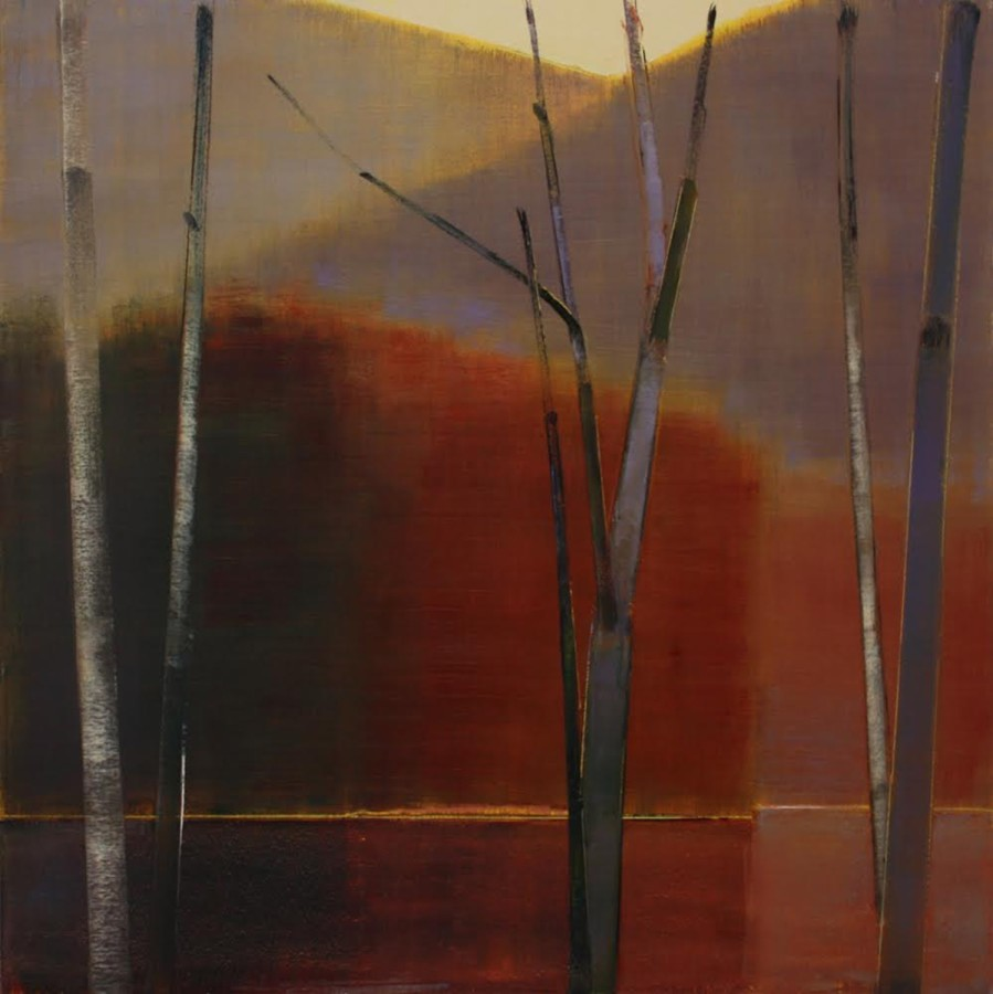Oil painting on panel by Stephen Pentak in various shades of brown, gray, black, yellow and red. The painting depicts part of the woods with several thin trees. There are multiple layers as each plain recedes into the distance.