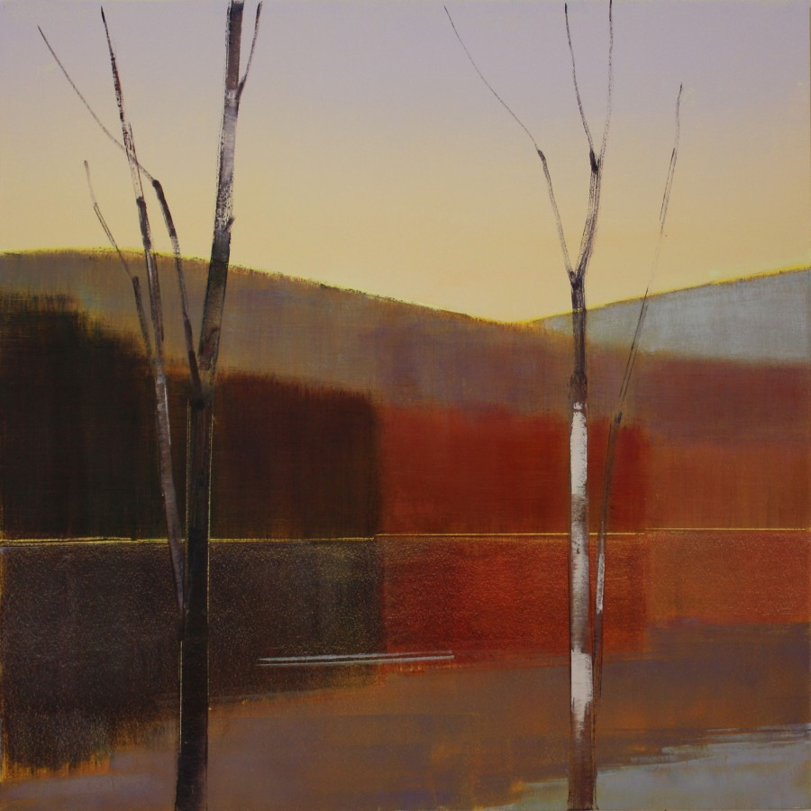 Oil painting on panel by Stephen Pentak in various shades of brown, gray, black, blue and red. The painting depicts part of the woods with several thin trees. There are multiple layers as each plain recedes into the distance.