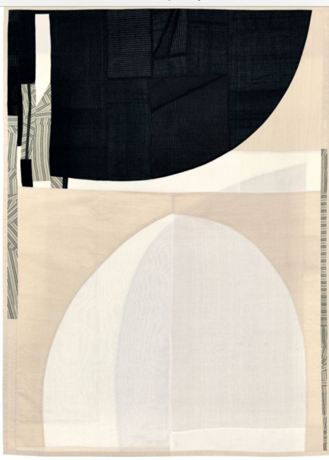 <p><b>Debra Smith<br /> </b><i>The Edge of Thought, Series, # 1</i>, 2014&#160;&#160;&#160;&#160; <br /> Pieced vintage kimono silks & men's suit lining<br /> 35 x 26 in.</p>