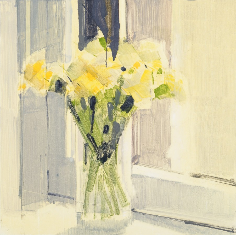 Lisa Breslow  Flowers 11, 2014  Monotype, paper size 22 x 22 inches  12 x 12 in.