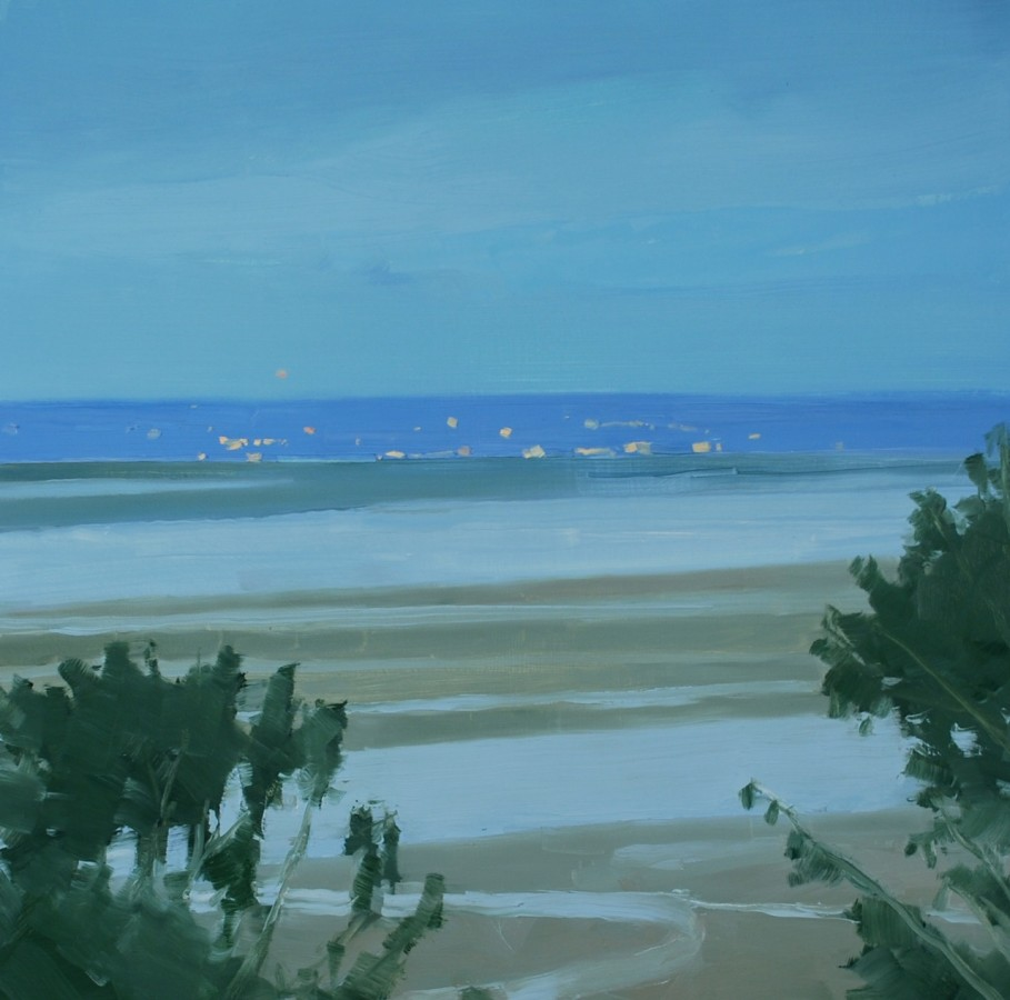 A oil painting on canvas by Sarah MacCulloh in various shades of blue, tan and green. The painting resembles a beach setting during what could be a sunrise or sunset due to the darker and cooler colors.