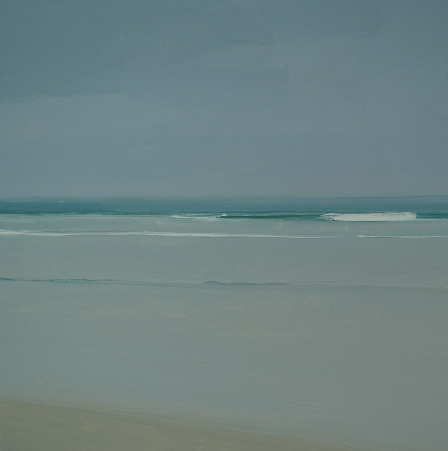 An oil painting on canvas by Sara MacCulloch in various shades of blue, gray, white and tan. The landscape painting depicts a beach setting during cloudy weather as shown by the dull colors. It creates an illusion of depth and distance.