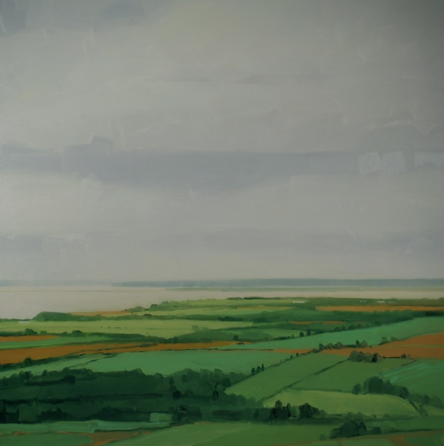 An oil painting on canvas by Sara MacCulloch in various shades of green, gray, and tan. The landscape painting depicts a field setting during cloudy weather as shown by the dull colors. The beach can be seen further down creating an illusion of distance.