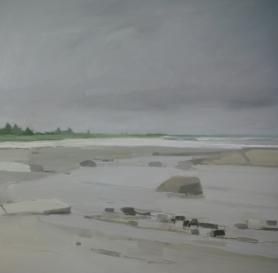 An oil painting on canvas by Sara MacCulloch in various shades of gray and tan. The landscape painting depicts a beach setting during cloudy weather as shown by the dull colors. It creates an illusion of depth and distance.
