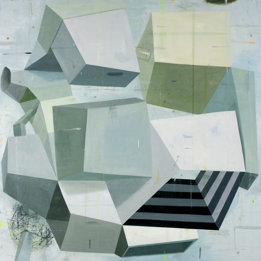 Abstract oil painting on canvas by Deborah Zlotsky in various shades of black, white, gray and light beige. The painting depicts cube-like shape patterns. The layers of bright and dark colors on each side of the cubes create an illusion of depth.