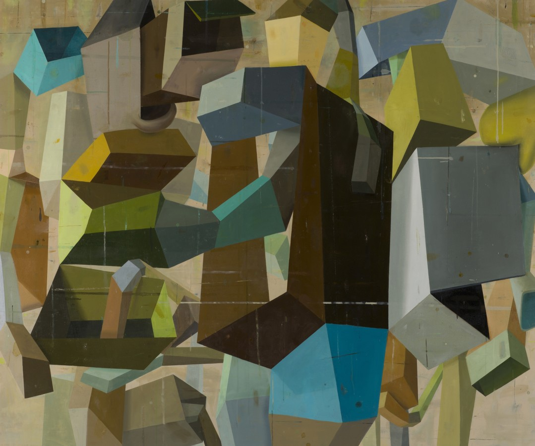 Abstract oil painting on canvas by Deborah Zlotsky in various shades of brown, gray, blue, beige and yellow. The painting depicts cube-like shape patterns. The layers of bright and dark colors on each side of the cubes create an illusion of depth.