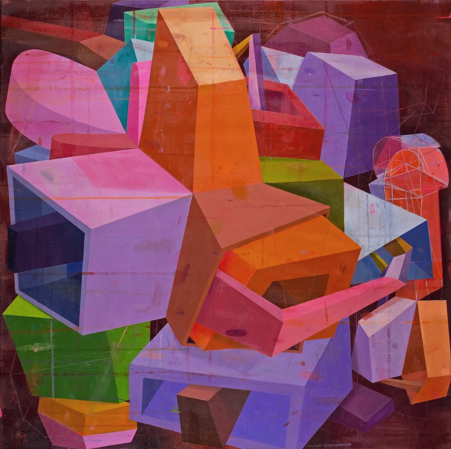 Abstract oil painting on canvas by Deborah Zlotsky in various shades of orange, purple, pink, green, brown, and blue. The painting depicts cube-like shape patterns. The layers of bright and dark colors create an illusion of depth.