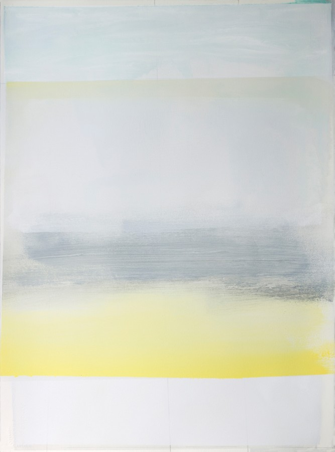A work by Jeffrey Cortland Jones done with enamel, gesso, latex, and graphite on acrylic panel in shades of gray and yellow. The work resembles a a layer of grass in a cloudy setting, however some of these works title that conveys more thought.