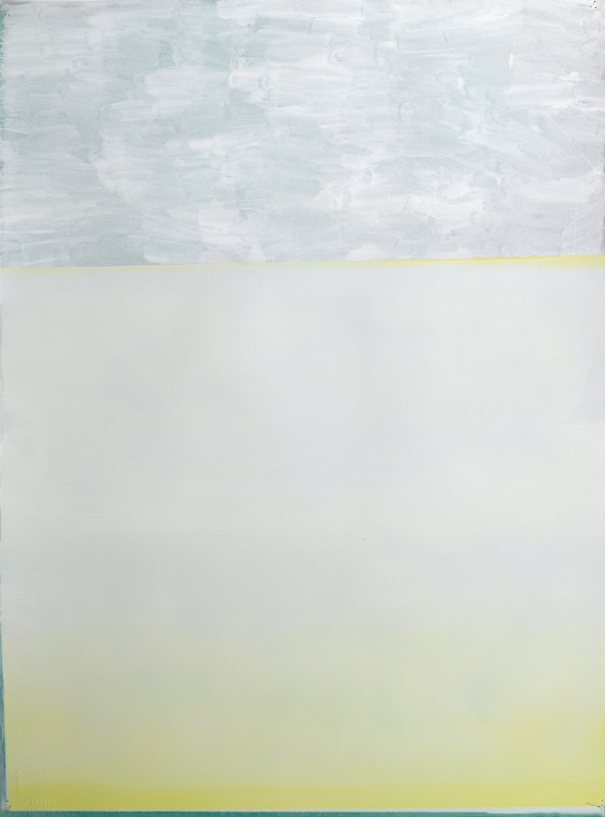 A work by Jeffrey Cortland Jones done with enamel, gesso, latex, and graphite on acrylic panel in shades of gray and yellow. The work resembles a sunset-like setting receding into the distance creating depth of field as shown by the bottom yellow.