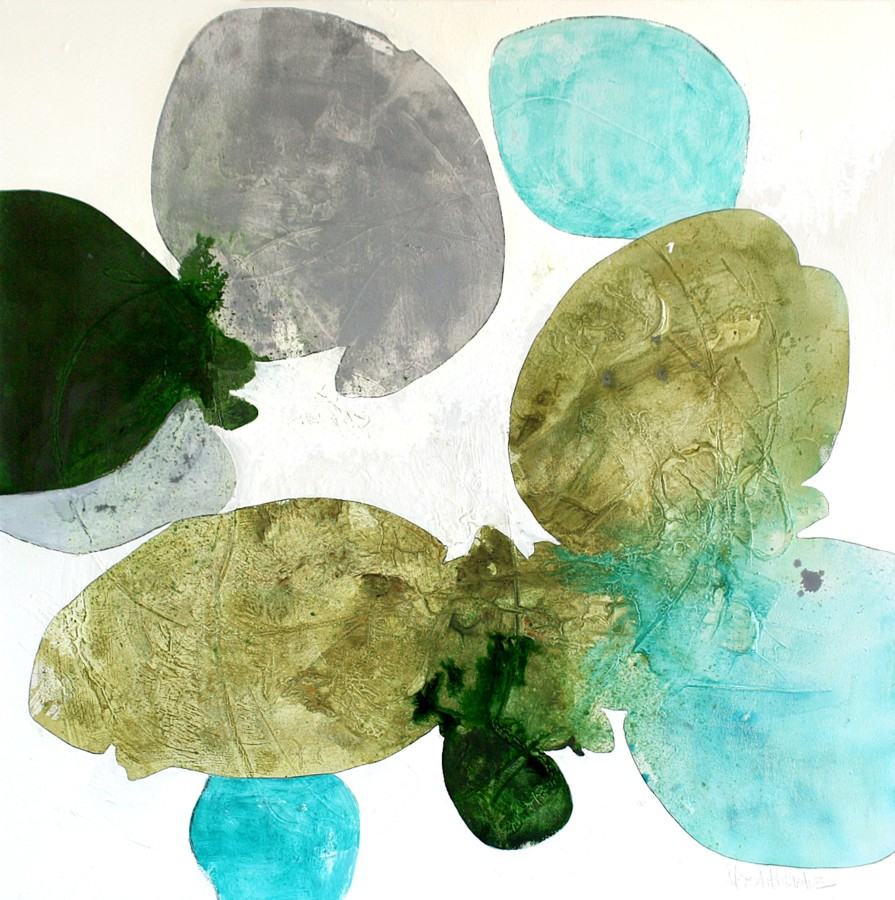 Meredith Pardue  Aqua Stella, 2014  Ink, oil, and graphite on canvas  48 x 48 inches