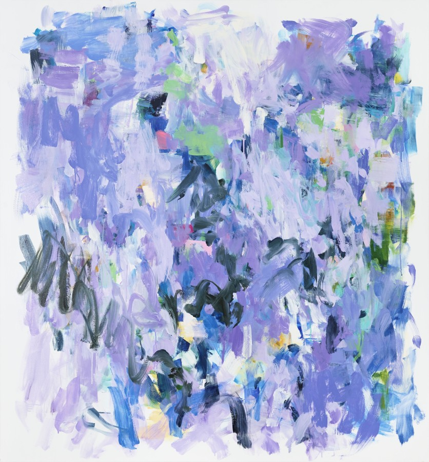 Oil painting on canvas by Yolanda Sanchez in various shades of violet, green, blue and black. The painting depicts overlapping abstract flower-like designs based on its color.