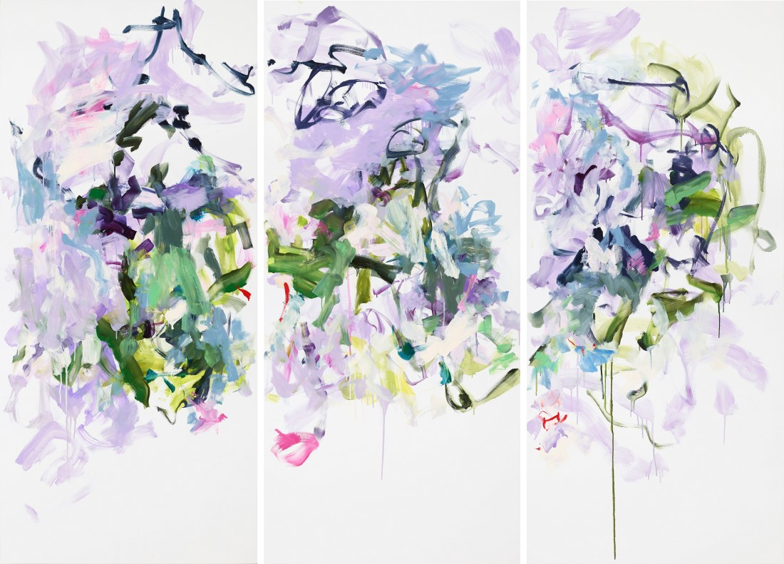 Oil painting on canvas by Yolanda Sanchez in various shades of pink, yellow, violet, green and black. The painting depicts overlapping abstract flower-like designs spread throughout three canvases.