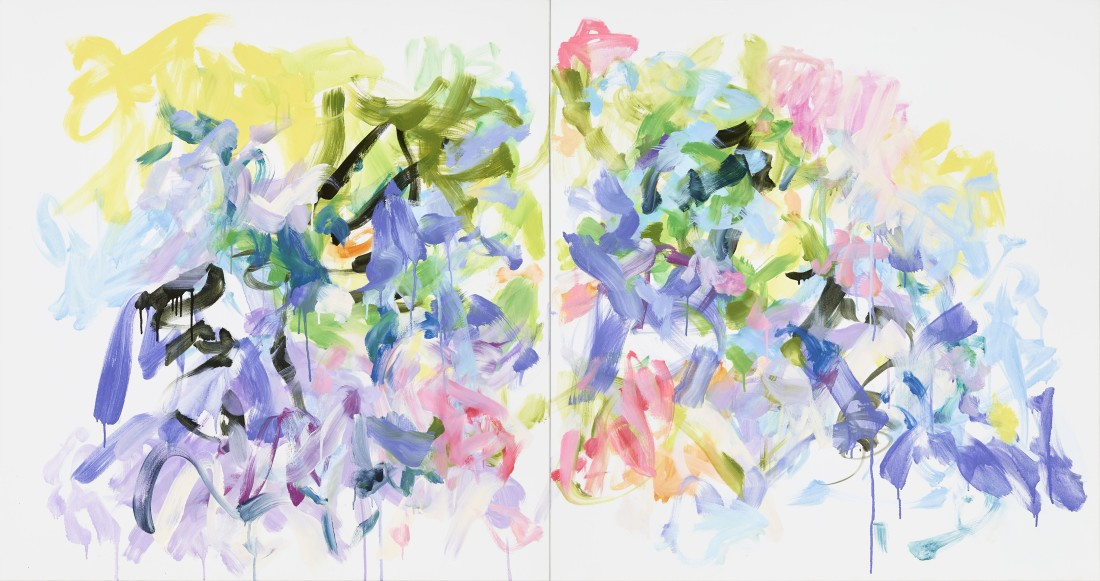 Oil painting on canvas by Yolanda Sanchez in various shades of pink, yellow, violet, green and black. The painting depicts overlapping abstract flower-like designs spread throughout two canvases.