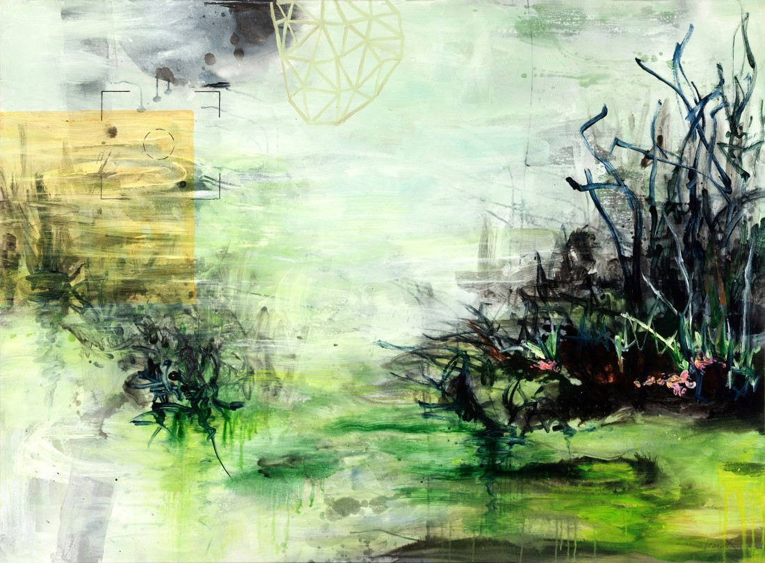 <p><strong>Allison Stewart</strong></p><div class=&#34;list-item-text&#34;><i>Living Downstream</i><br />Mixed Media on Canvas<br />48 x 65 in.</div>