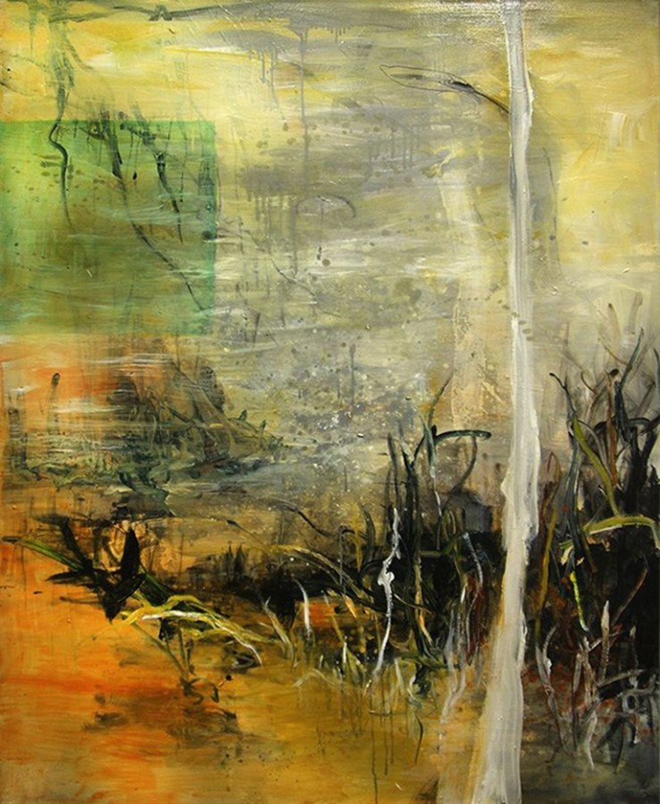 <p><strong>Allison Stewart</strong></p><div class=&#34;list-item-text&#34;><i>Downstream II</i><br />Mixed Media on Canvas<br />60 x 48 in.</div>