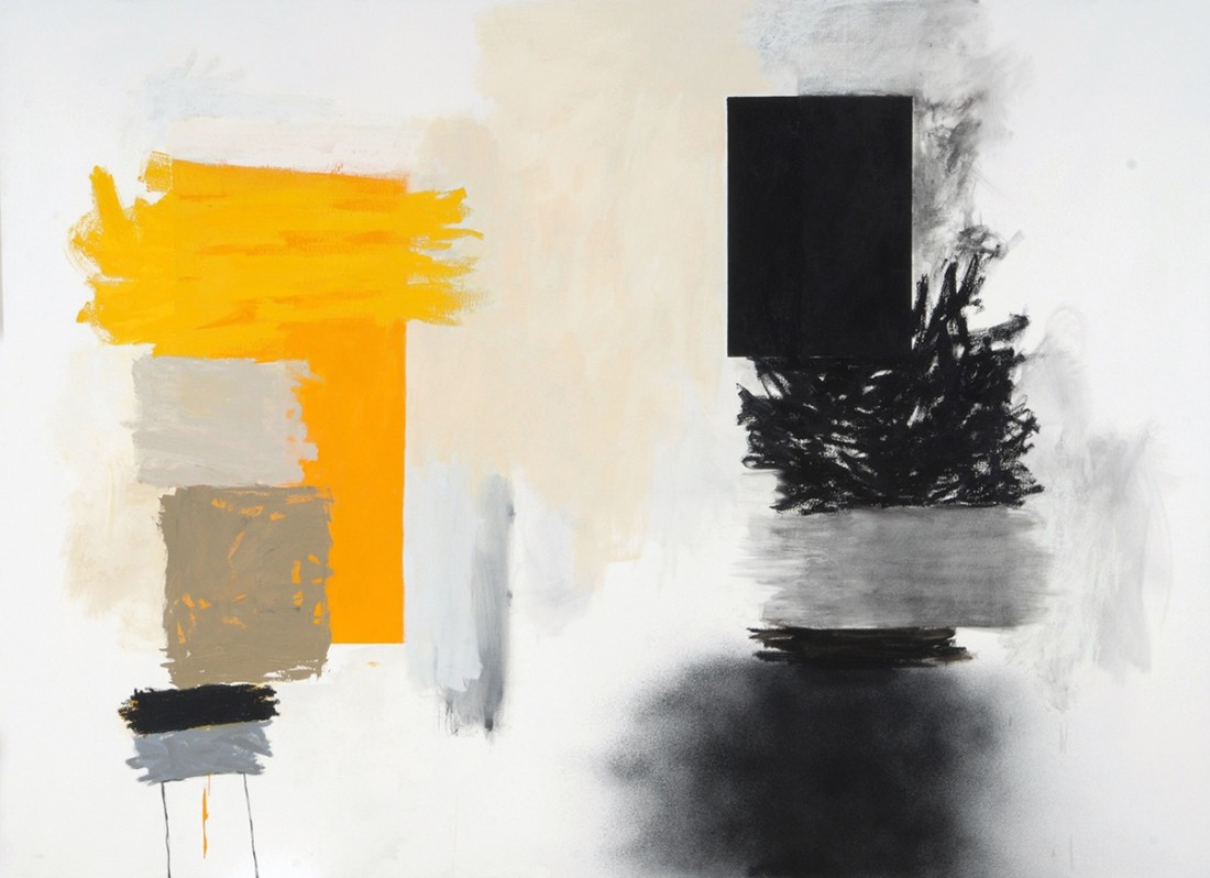 Oil painting on canvas by Rocio Rodriguez in various shades of yellow, black and gray. The painting depicts different shape designs that separates light and darkness creating an illusion of depth.