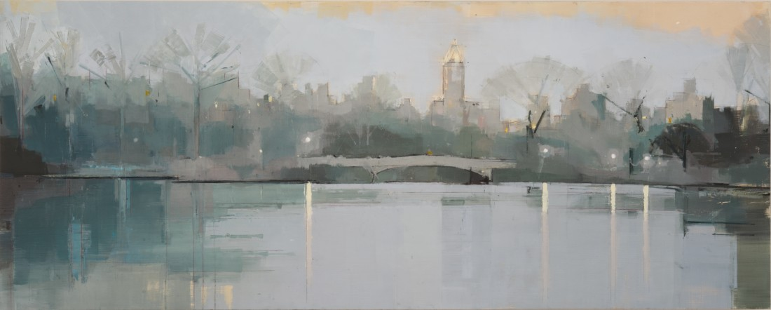 Lisa Breslow Bow Bridge, Twilight, 2012 Oil and pencil on panel 20 X 50 inches