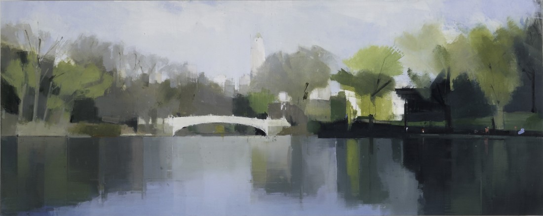 Lisa Breslow Central Park, Bow Bridge, 2012 Oil and pencil on panel 20 X 50 inches