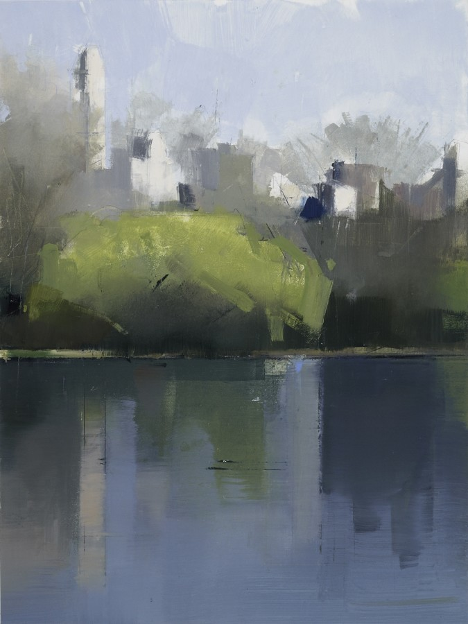 Lisa Breslow Central Park Lake 1, 2012 Oil and pencil on panel 16 X 12 inches