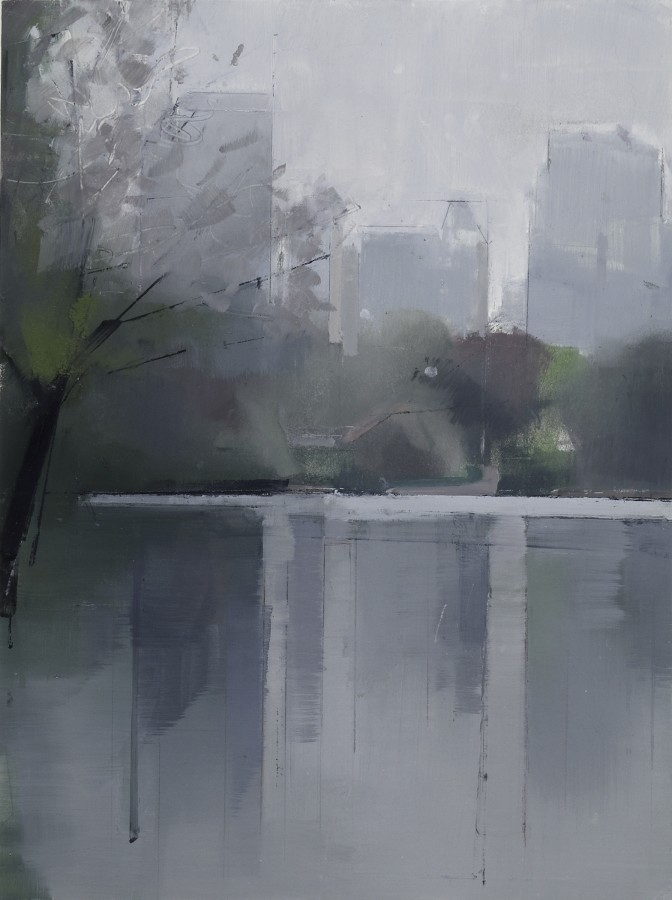 Lisa Breslow Central Park Lake 2, 2012 Oil and pencil on panel 16 X 12 inches
