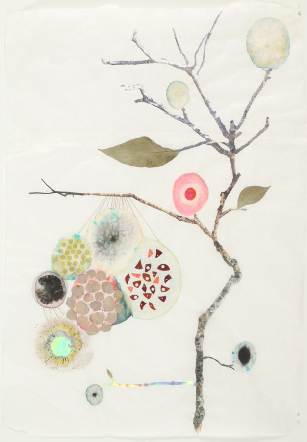 Marilla Palmer  Hanging Hydrangea, 2011  mixed media on Mulberry paper  25 x 18 in