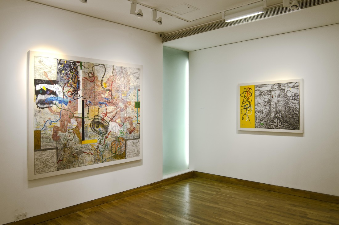 <p>WALLY HEDRICK & WILLIAM T. WILEY Installation View</p>