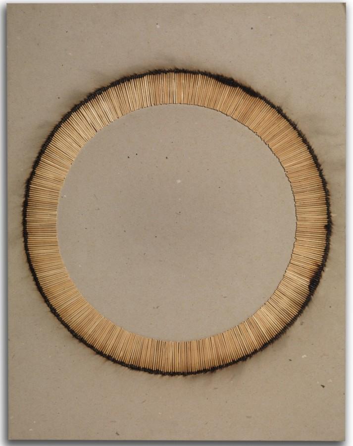 "<p><span class=""artist""><strong>BERNARD AUBERTIN</strong></span>,</p><div class=""title""><em>Desin de Feu</em>, 1974</div><div class=""medium"">Burnt matches on card</div><div class=""dimensions"">65 x 50 cm<br />(25 5/8 x 19 3/4 inches)</div><div class=""dimensions"">£6,800</div>"