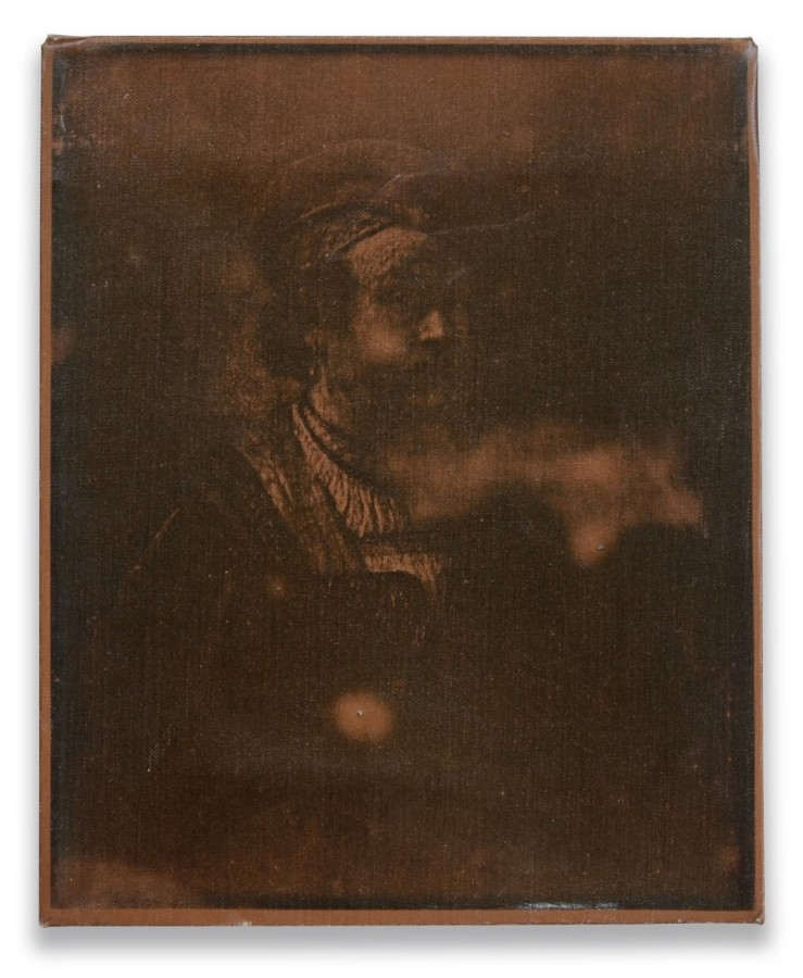 """<p><span class=""""artist""""><strong>BILLY APPLE</strong></span>, <span class=""""title""""><em>Portrait of Rembrandt</em>, 1964</span></p><div class=""""medium"""">Xeroxed fabric on wooden stretcher</div><div class=""""dimensions"""">25.5 x 20.5 cm<br />10 x 8 1/8 inches</div>"""
