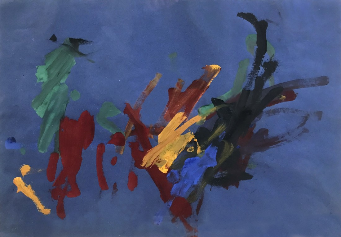 """<p><span class=""""artist""""><strong>CONGO</strong></span>, <span class=""""title""""><em>12th Painting Session 18 July 1957</em><br /></span></p><p><span class=""""title"""">1957</span></p><div class=""""medium"""">Poster paint on paper</div><div class=""""dimensions"""">26 x 38 cm<br />10 ¼ x 15 inches</div>"""