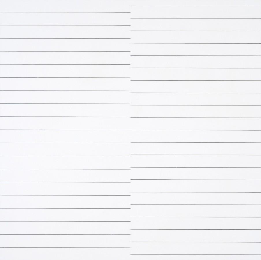 """<p><span class=""""artist""""><strong>FRANCOIS MORELLET</strong></span></p><p><span class=""""title""""><em>19 lignes parallèles et 21 lignes parallèles avec 1 interférence</em>, 1974</span></p><div class=""""medium"""">Oil on board</div><div class=""""dimensions"""">80 x 80 cm<br />31 ½ x 31 ½ inches</div>"""