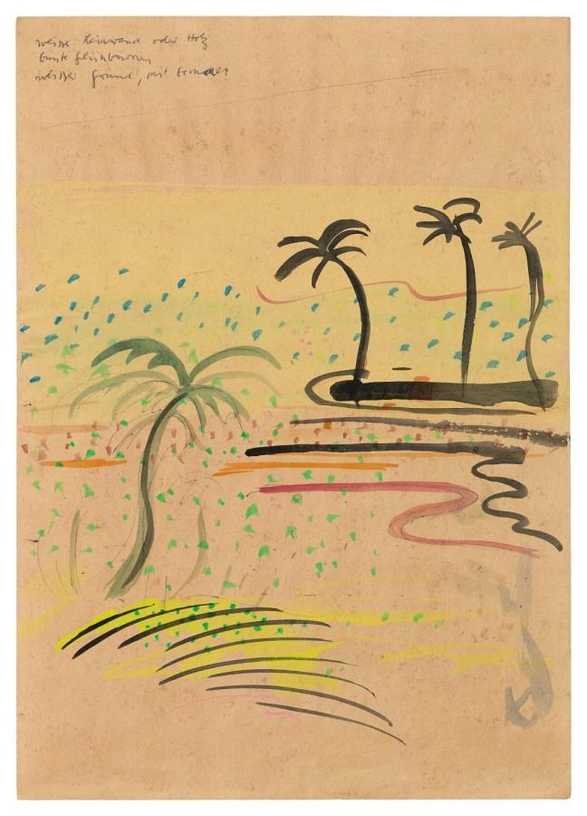 "<p><span class=""artist""><strong>SIGMAR POLKE</strong></span>, <span class=""title""><em>Untitled (Palm Beach)</em>, c. late 1960s</span></p><div class=""medium"">Watercolour on paper</div><div class=""dimensions"">29 x 21 cm<br />11 ½ x 8 ¼ inches</div>"