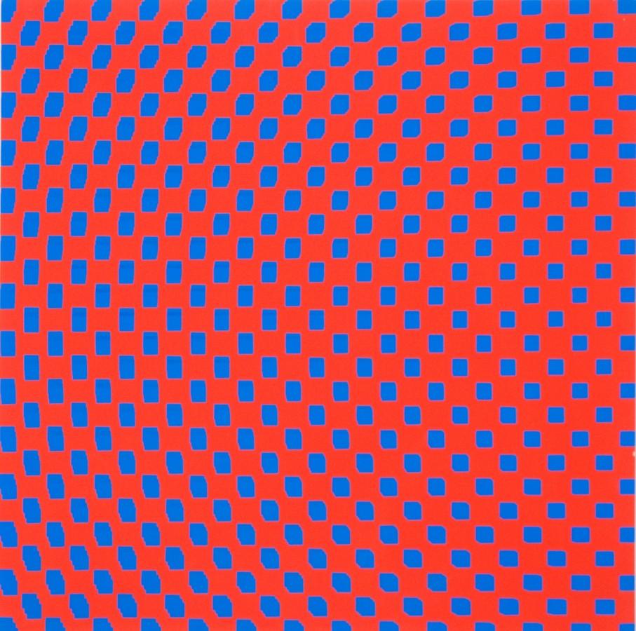 """<p><span class=""""artist""""><strong>FRANCOIS MORELLET</strong></span></p><p><span class=""""title""""><em>3 trames de carrés réguliers pivotées sur le côté</em>, 1970</span></p><div class=""""medium"""">Silkscreen on board</div><div class=""""dimensions"""">80 x 80 cm<br />31 1/2 x 31 1/2 inches</div>"""