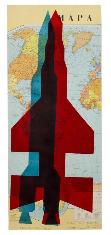 "<span class=""artist""><strong>STANO FILKO</strong></span>, <span class=""title""><em>Map of the World (Rockets)</em>, 1967</span>"