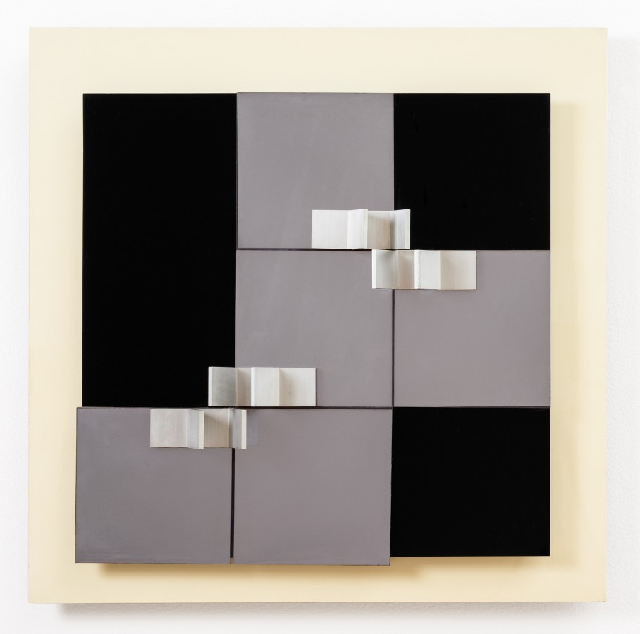 "<p><span class=""artist""><strong>ANTHONY HILL</strong></span>, <span class=""title""><em>Relief Construction E1</em>, 1963</span></p><div class=""medium"">Plastic and aluminium assemblage on panel</div><div class=""dimensions"">76 x 76 cm<br />30 x 30 inches</div>"