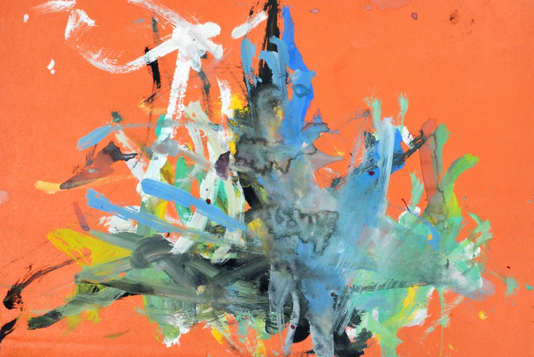 "<p><span class=""artist""><strong>CONGO</strong></span>, <span class=""title""><em>7th Painting Session 13 June 1957</em><br /></span></p><p><span class=""title"">1957</span></p><div class=""medium"">Poster painton paper</div><div class=""dimensions"">27 x 39 cm<br />10 ⅝ x 15 ⅜ inches</div>"