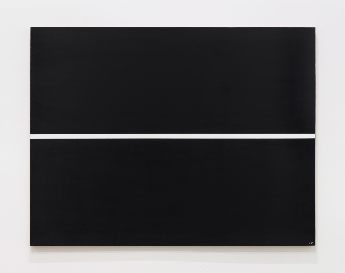 "<p><span class=""title""><em>White line on a black surface</em>, 1968‒1997</span></p><div class=""medium"">Oil and acrylic on canvas</div><div class=""dimensions"">100 x 130 cm<br />39 ⅜ x 51 ¼ inches</div>"