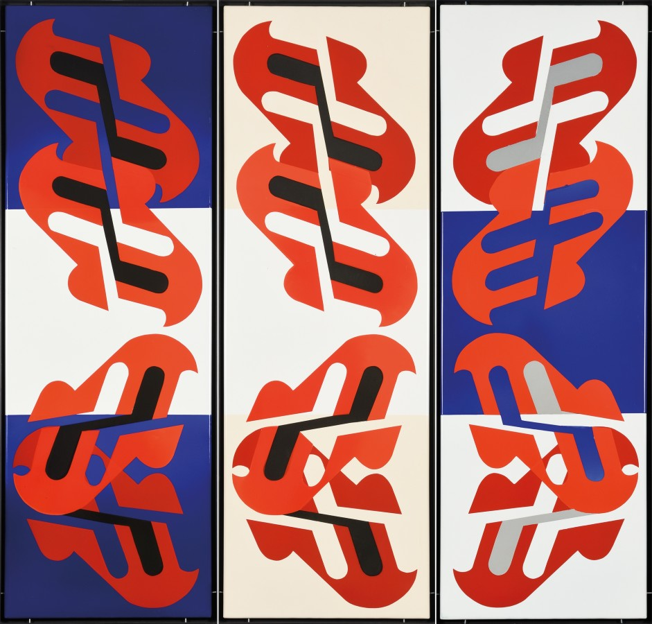 "<p><span class=""artist""><strong>KÁROLY KISMÁNYOKY</strong></span>, <span class=""title""><em>Untitled</em>, c. 1970</span></p><div class=""medium"">Enamel on iron plate, 3 pieces</div><div class=""dimensions"">135 x 150 cm<br />53 x 59 inches</div>"