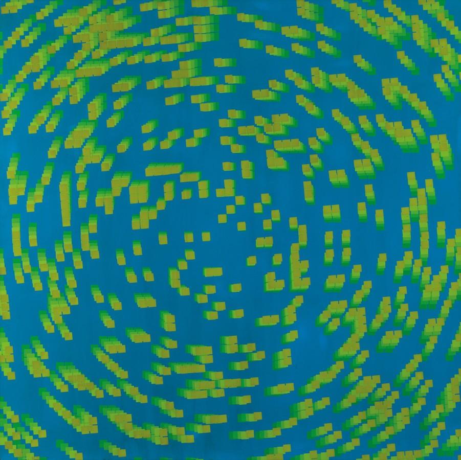 """<p><span class=""""artist""""><strong>FRANCOIS MORELLET</strong></span>, <span class=""""title""""><em>20% de carrés dégradés pivotés au centre 5 fois</em>, 1970</span></p><div class=""""medium"""">Silkscreen on board</div><div class=""""dimensions"""">80 x 80 cm<br />(31 ½ x 31 ½ inches)</div>"""