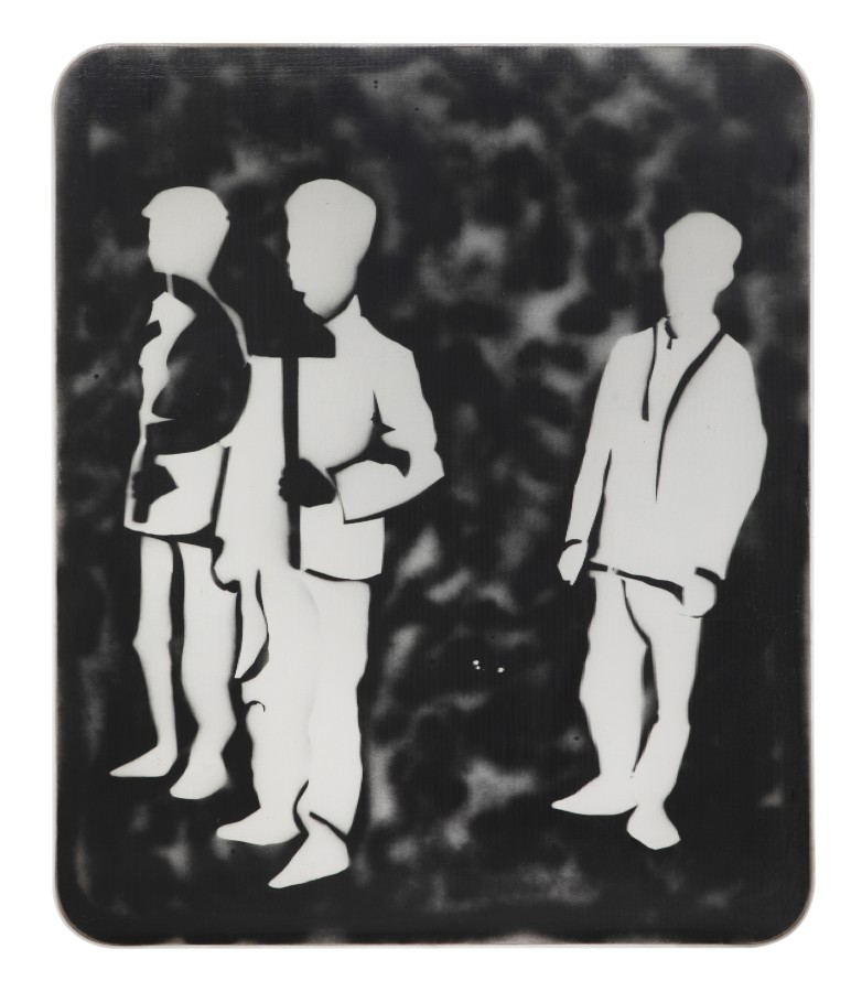 """<p><span class=""""artist""""><strong>MARIO SCHIFANO</strong></span>, <span class=""""title""""><em>Compagni, compagni</em>, 1968</span></p><div class=""""medium"""">Enamel and spray paint on canvas and Perspex</div><div class=""""dimensions"""">120 x 100 cm<br />47 ¼ x 39 ⅜ inches</div>"""