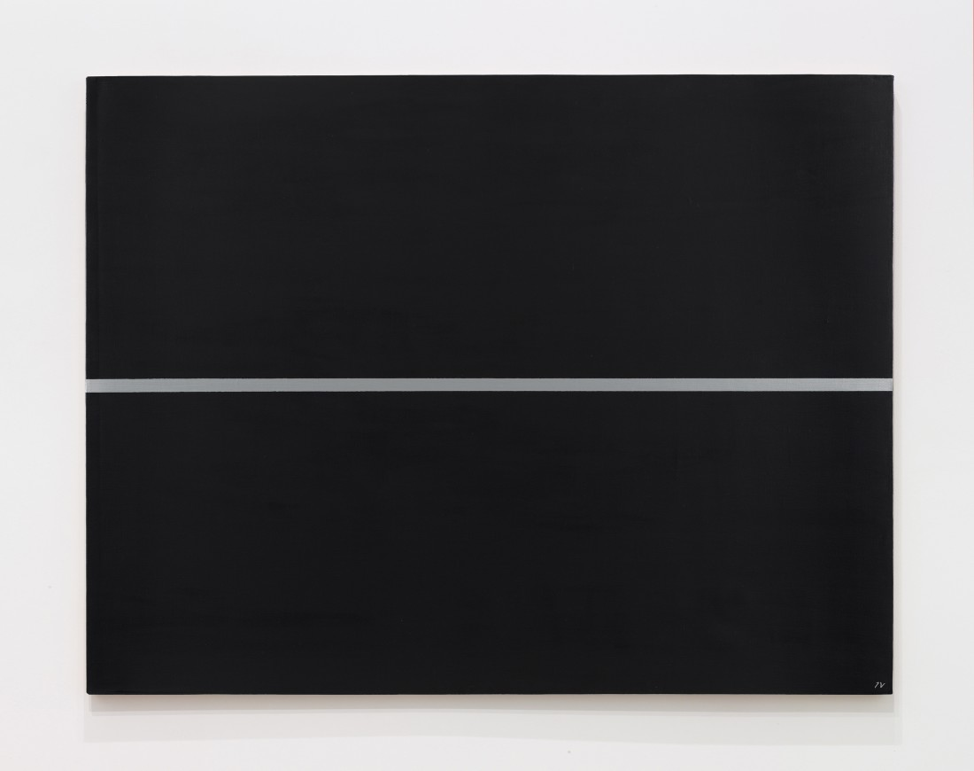 "<p><span class=""title""><em>Silver line on a black surface</em>, 1964‒1997</span></p><div class=""medium"">Oil and acrylic on canvas</div><div class=""dimensions"">100 x 130 cm<br />39 ⅜ x 51 ¼ inches</div>"