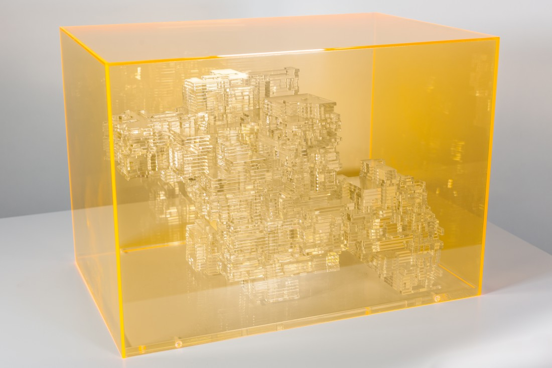 "<p><span class=""artist""><strong>MIGUEL CHEVALIER</strong></span>, <span class=""title""><em>Méta-Cités 2</em>, 2012</span></p><div class=""medium"">Acrylic glass sculpture in Fluro orange acrylic glass box</div><div class=""dimensions"">32 x 43.5 x 30.5 cm<br />12 5/8 x 17 1/8 x 12 inches</div>"