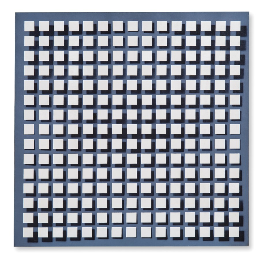 """<p><span class=""""artist""""><strong>JULIO LE PARC</strong></span>, <span class=""""title""""><em>Modulacion 114B</em>, 1976</span></p><div class=""""signed_and_dated"""">Acrylic on canvas</div><div class=""""dimensions"""">120 x 120 cm<br />47 ¼ x 47 ¼ inches</div>"""
