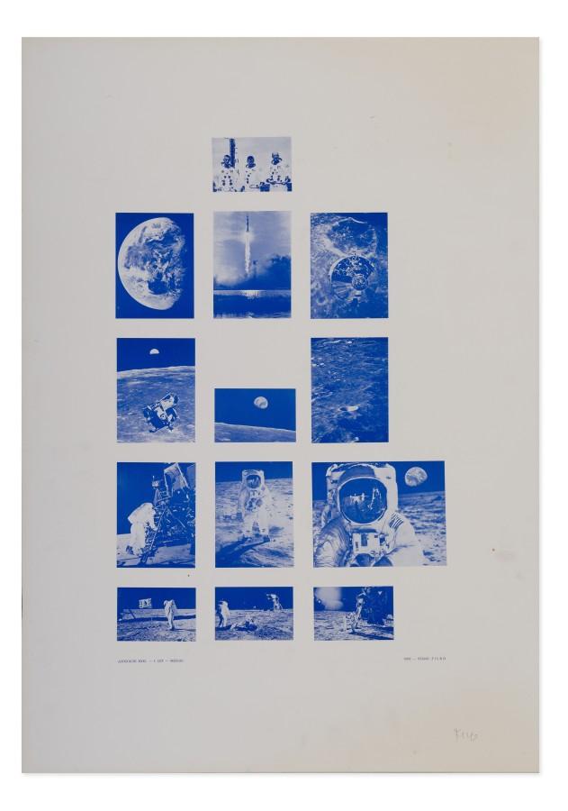 """<span class=""""artist""""><strong>STANO FILKO</strong></span>, <span class=""""title""""><em>Association XXXI. - 1st Flight - Moon</em>, 1969</span>"""