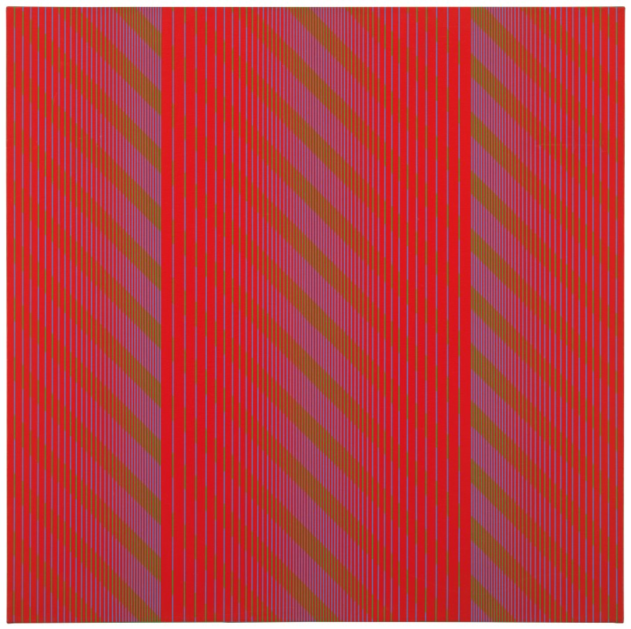 "<p><span class=""artist""><strong>JULIAN STAŃCZAK</strong></span>, <span class=""title""><em>Red Trilogy</em>, 1969</span></p><div class=""medium"">Acrylic on canvas</div><div class=""dimensions"">91 x 91 cm<br />35 ¾ x 35 ¾ inches</div>"