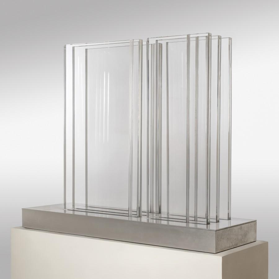 "<p><span class=""artist""><strong>CARLOS CAIROLI</strong></span>, <span class=""title""><em>46 Hommage à H. Veillon-Duverneuil</em>, 1973</span></p><div class=""medium"">Altuglas and steel</div><div class=""dimensions"">80 x 108 x 35 cm<br />31 ½ x 42 ½ x 13 ¾ inches</div><div class=""dimensions"">SOLD</div>"